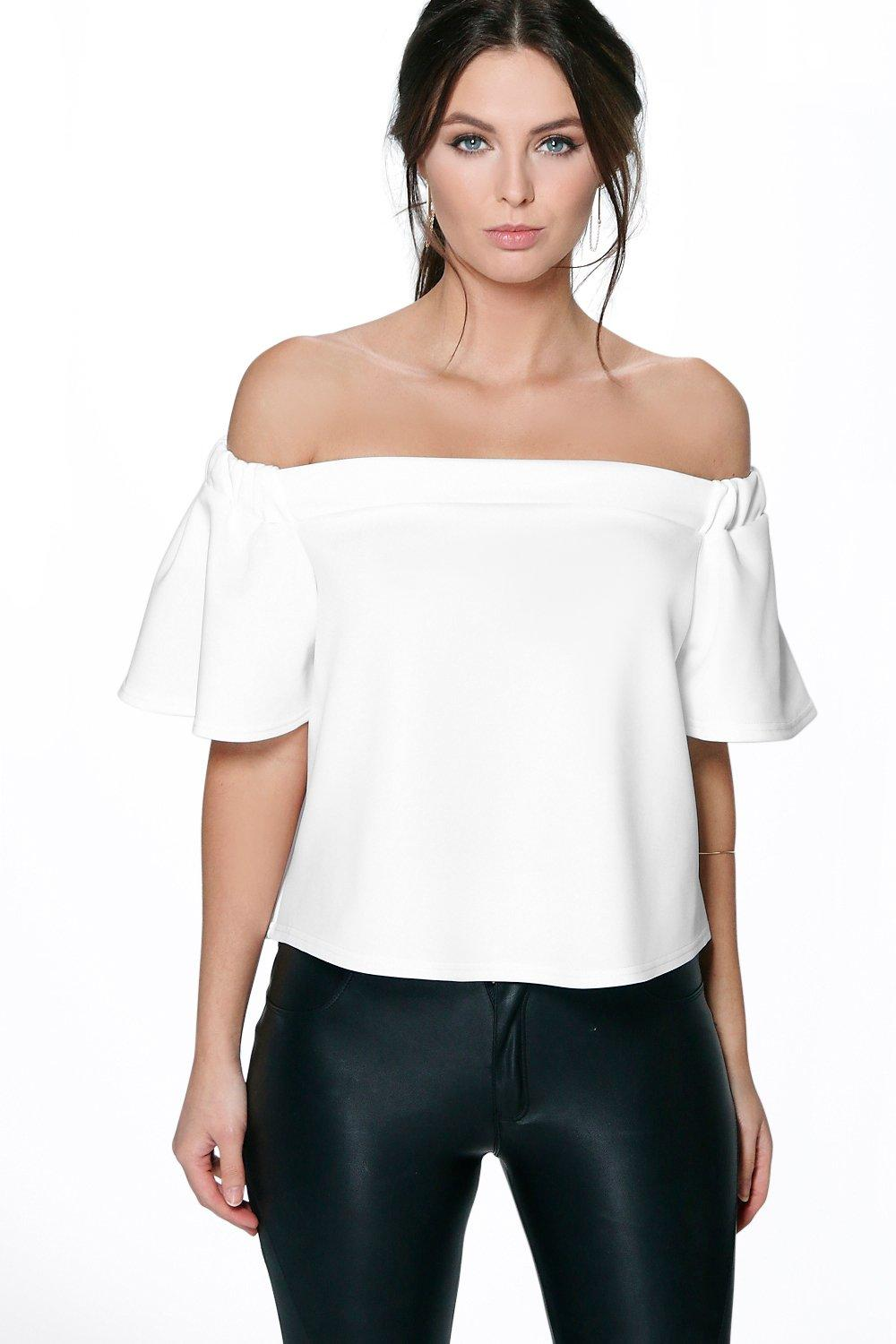 Petite Julia Off The Shoulder Scuba Frill Top