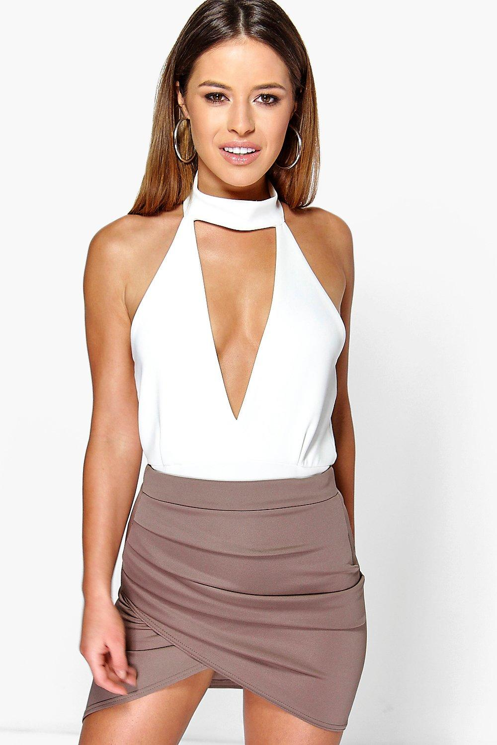 millie ruched side asymmetric midi skirt at boohoo