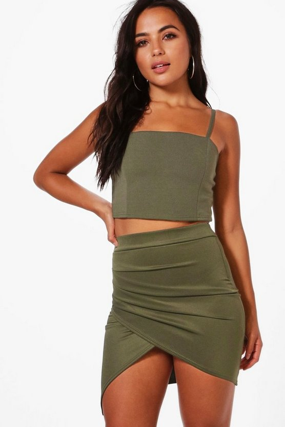 Petite Millie Ruched Side Asymmetric Midi Skirt