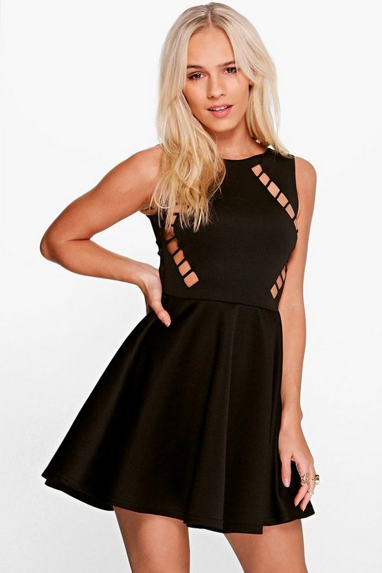 Petite Holly Lazer Cut Scuba Skater Dress