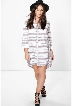 Plus Olivia Paisley Print Shirt Dress