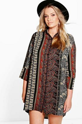 Plus Tina Paisley Print Shirt Dress