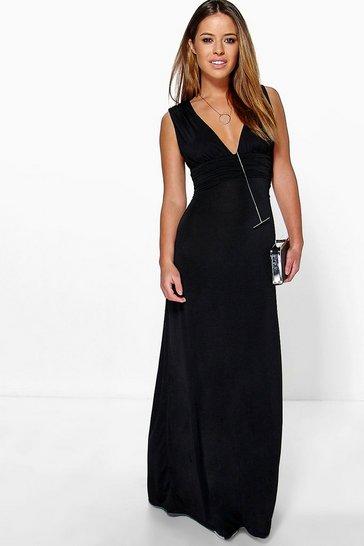 Black Petite  Plunge Ruched Maxi Dress