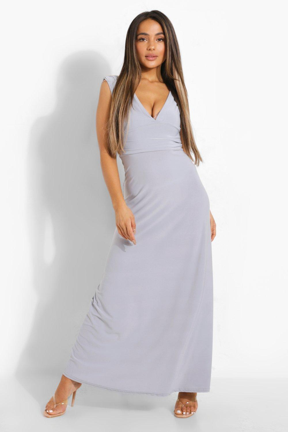 Petite Donna Plunge Ruched Maxi Dress