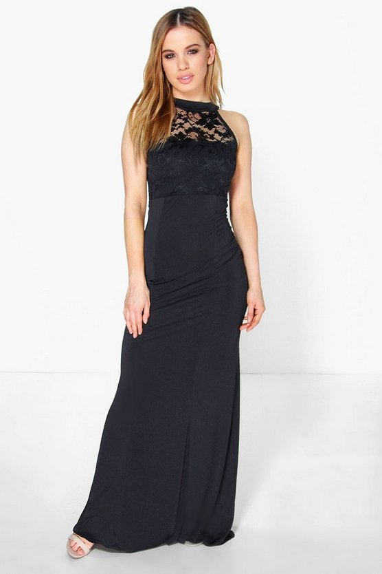 Petite Kirsty Lace Panel Slinky Maxi Dress