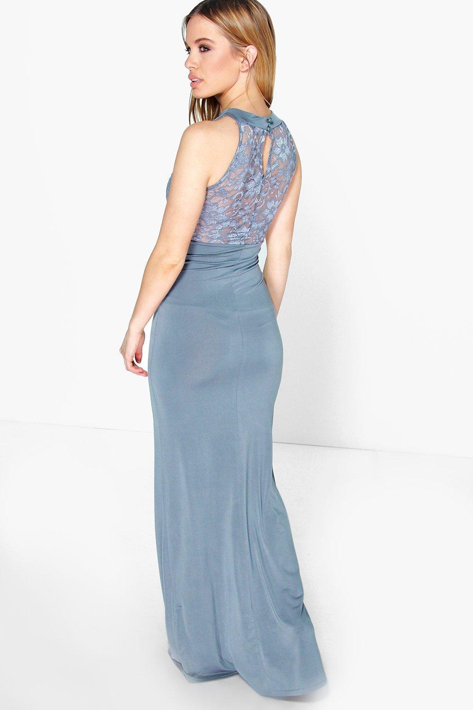 Petite Kirsty Lace Panel Slinky Maxi Dress | Boohoo