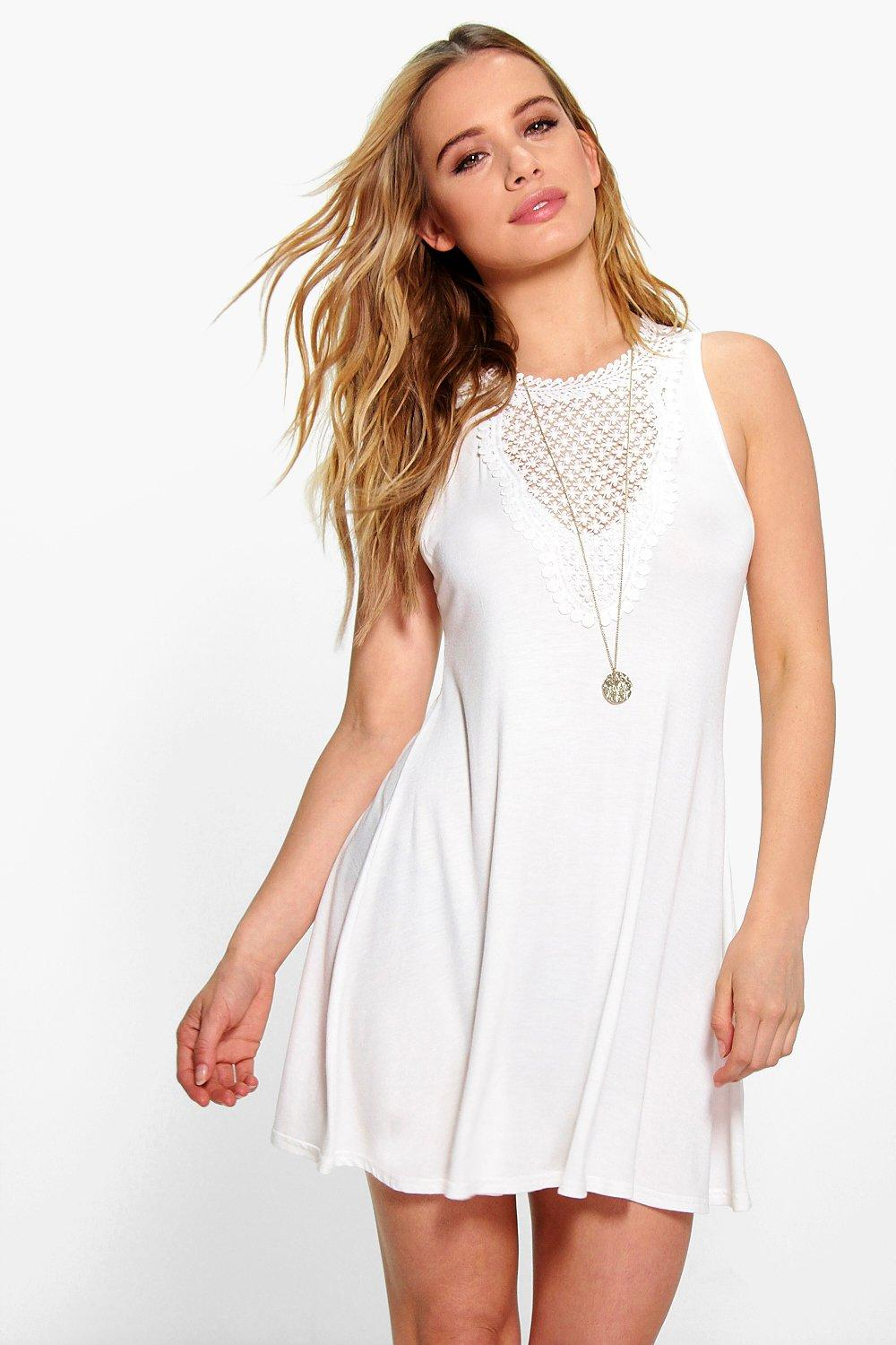 Petite Molly Crochet Trim Swing Dress