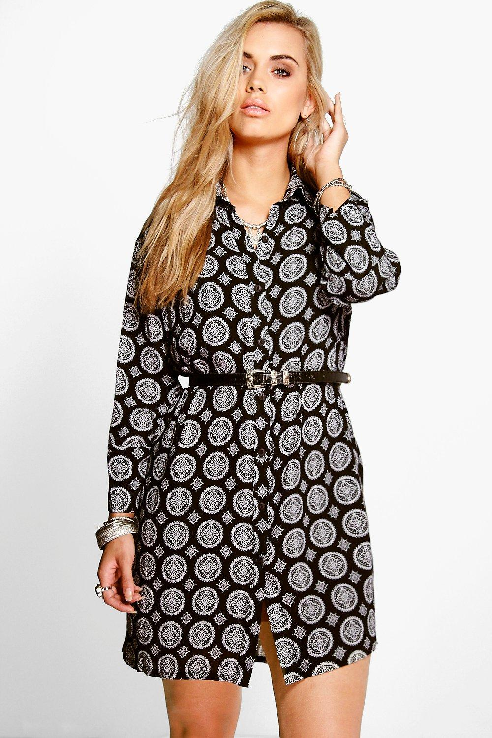 Plus Polly Printed Woven Shirt Dress