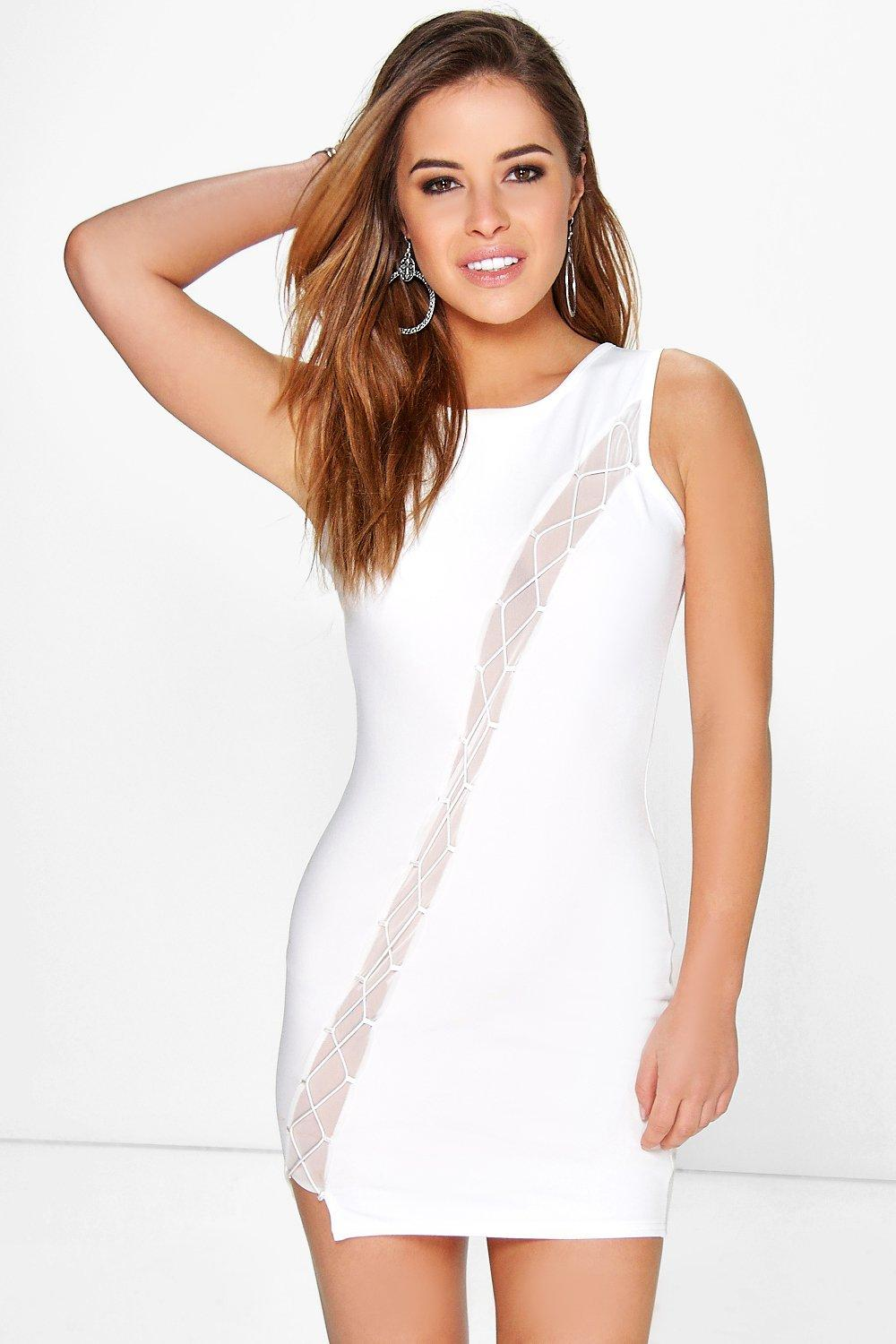 Petite Nicole Mesh Detail Bodycon Dress