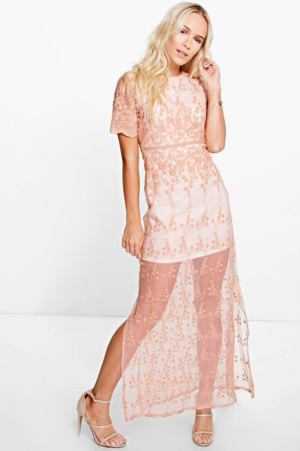 Petite Cara All Over Embroidered Maxi Dress