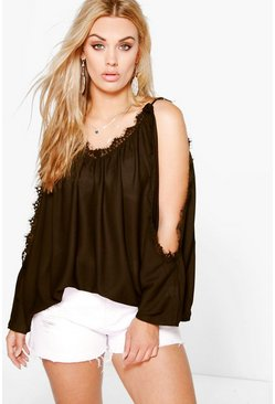 Plus Abbie Open Shoulder Lace Sleeve Blouse
