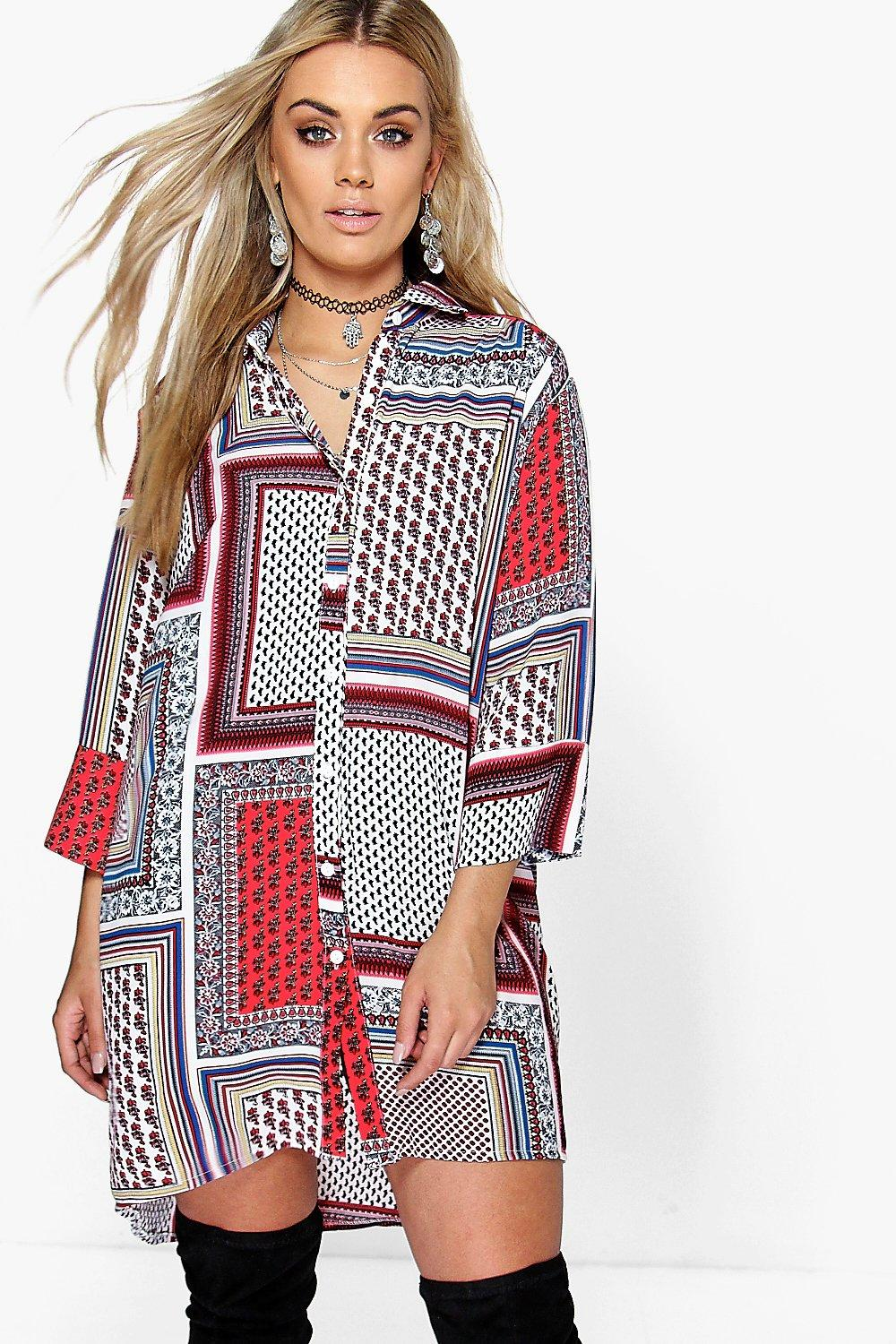 Plus Peggy Paisley Print Shirt Dress