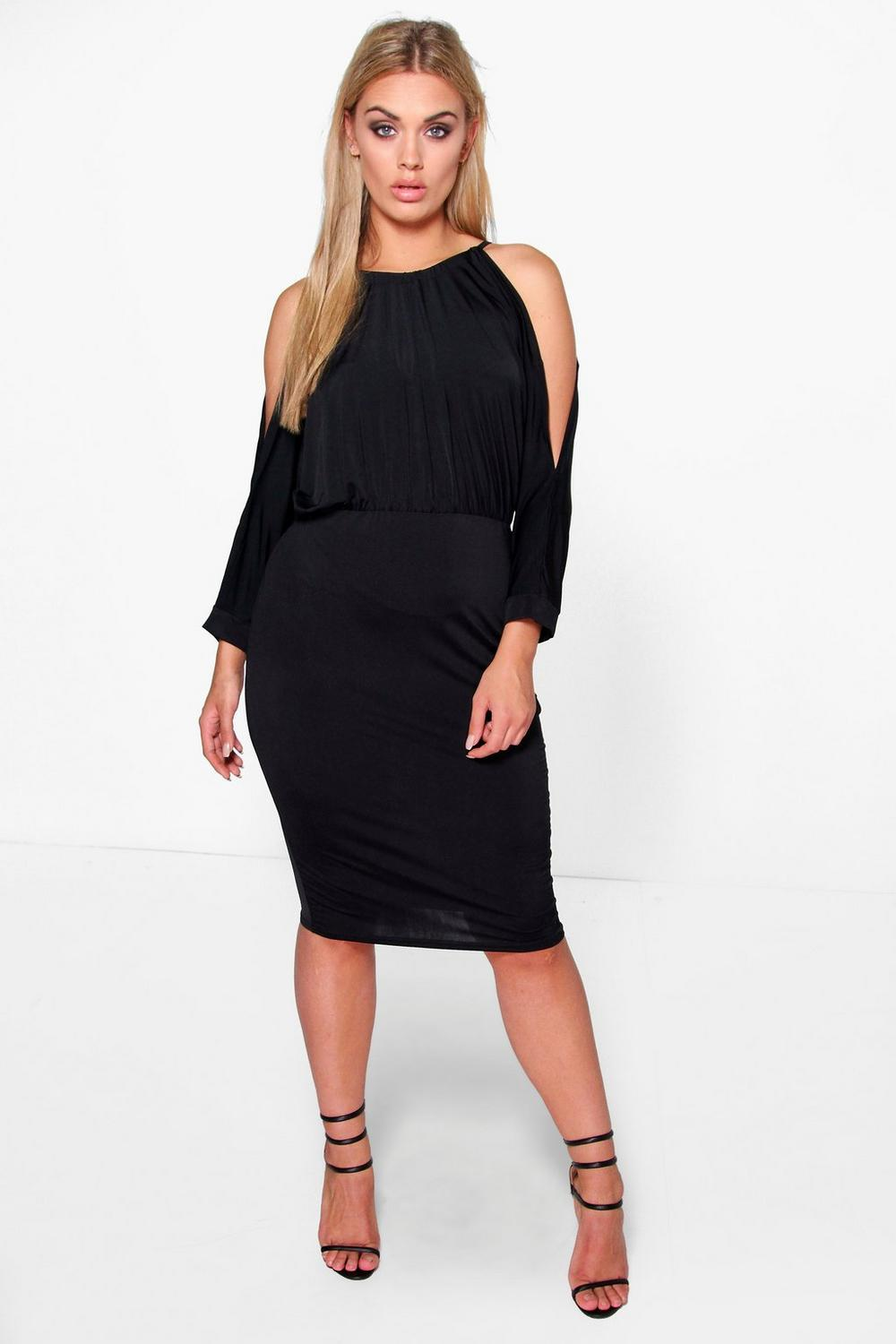 NEW-Boohoo-Womens-Plus-Cindy-Cut-Out-Shoulder-Slinky-Bodycon-Dress-in-Cotton
