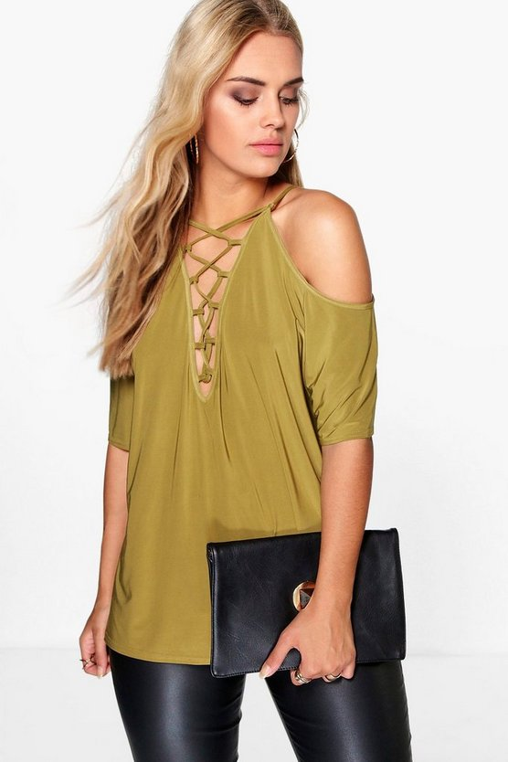 Plus Maria Open Shoulder Lace Up Detail Top