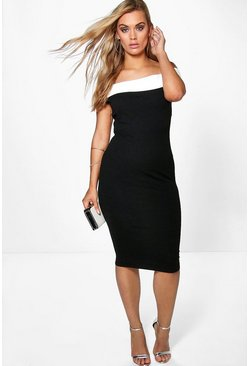 Plus Cindy Contrast Panel Midi Dress