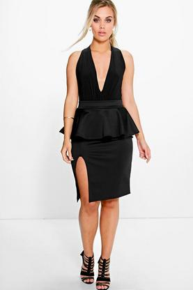 Plus Kylie Peplum Side Split Skirt