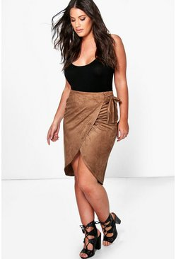 Plus Adrianna Wrap Detail Suedette Midi Skirt