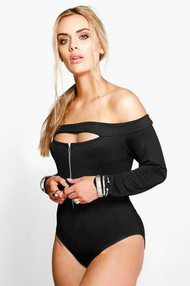 Plus Katrina Zip Detail Bodysuit
