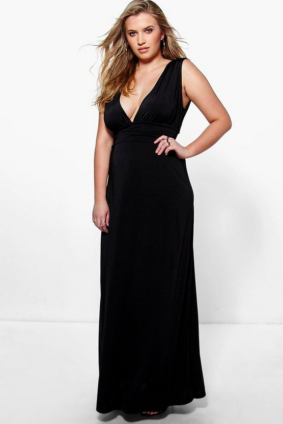 Plus Paige Plunge Ruched Maxi Dress