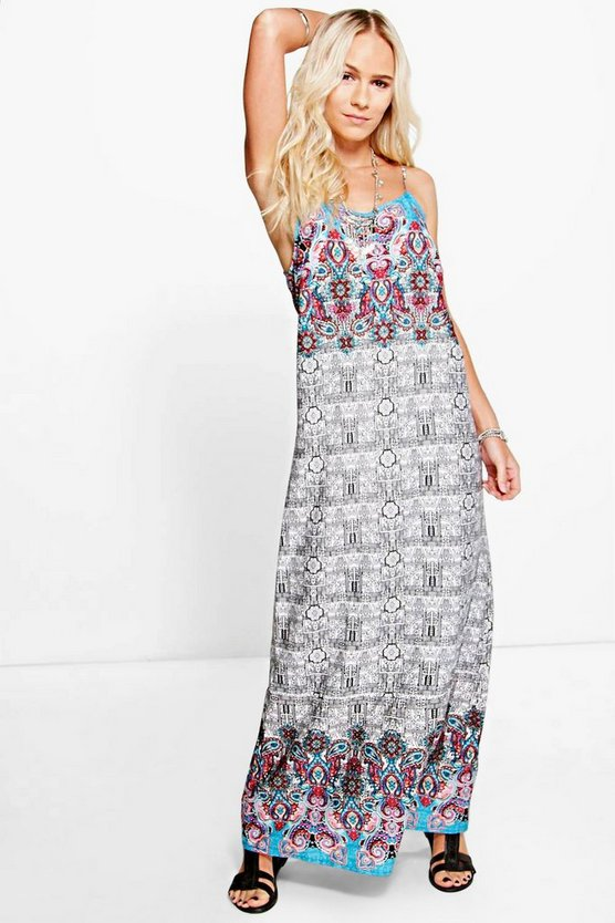 Petite Emily Mixed Print Maxi Dress