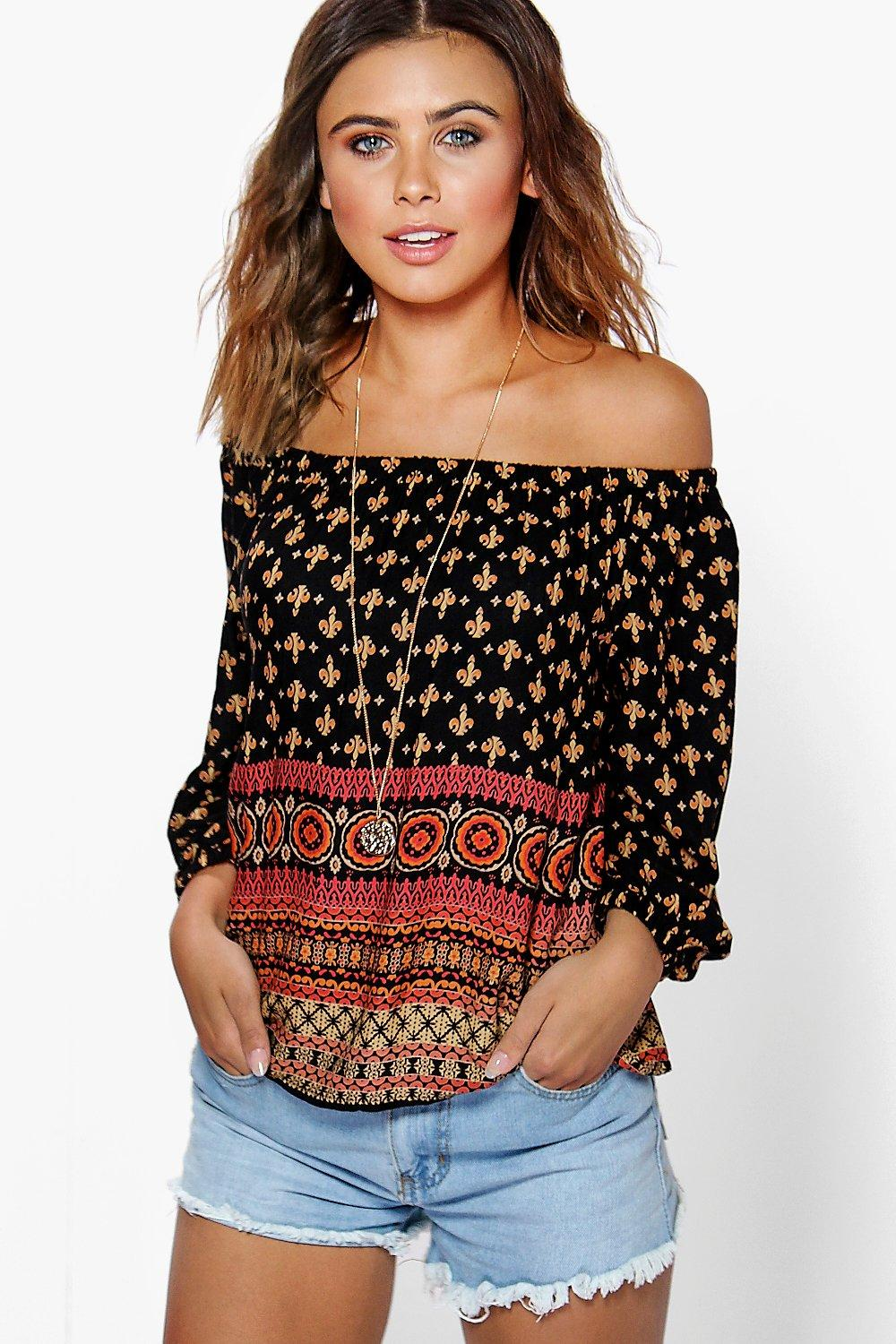 Petite Liv Printed Woven Off The Shoulder Top