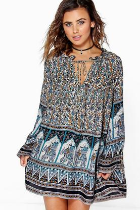 Petite Laura Elephant Print Smock Dress