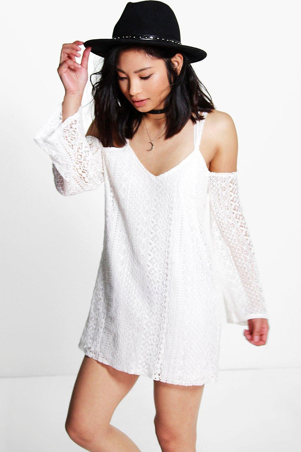 Petite Mia All Over Lace Cold Shoulder Shift Dress