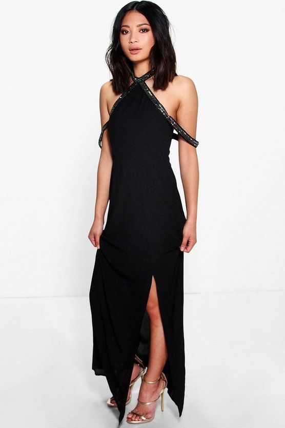 Petite Sara Embellished Open Shoulder Maxi Dress
