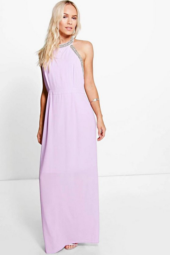 Petite Jenna Embellished Halter Maxi Dress