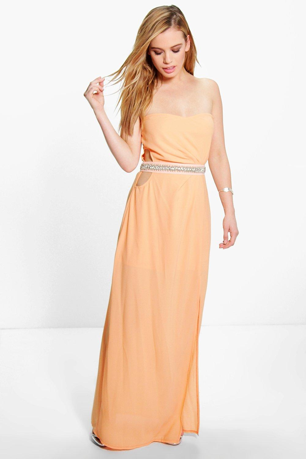 Product photo of Eva embellished waist cut out maxi dress apricot