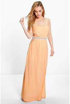 Petite Eva Embellished Waist Cut Out Maxi Dress