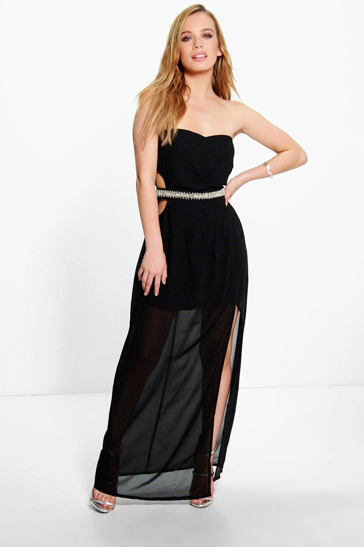 Product photo of Eva embellished waist cut out maxi dress black