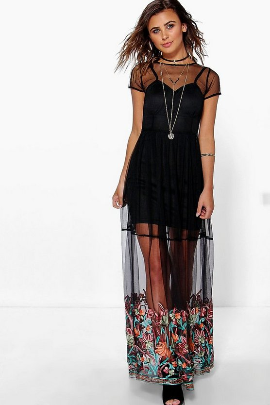 Petite Polly Embroidered Hem Mesh Maxi Dress