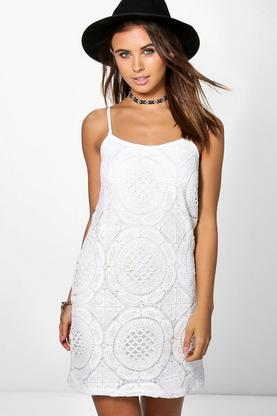 Petite Sara Crochet Strappy Slip Dress