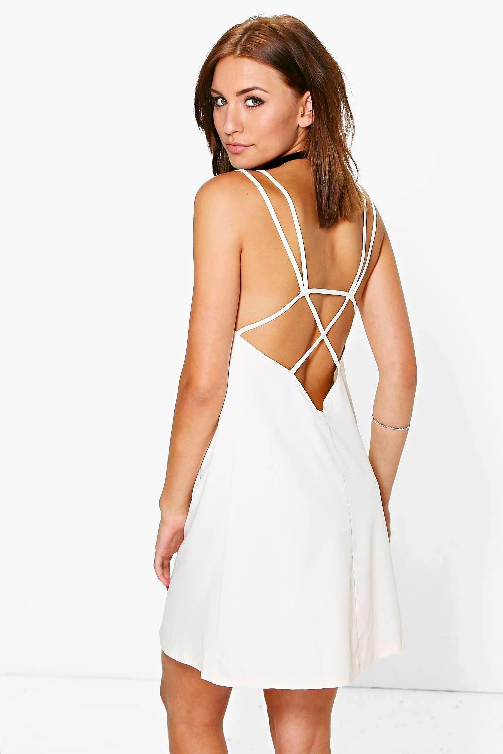 Petite Annie Strappy Back Woven Swing Dress