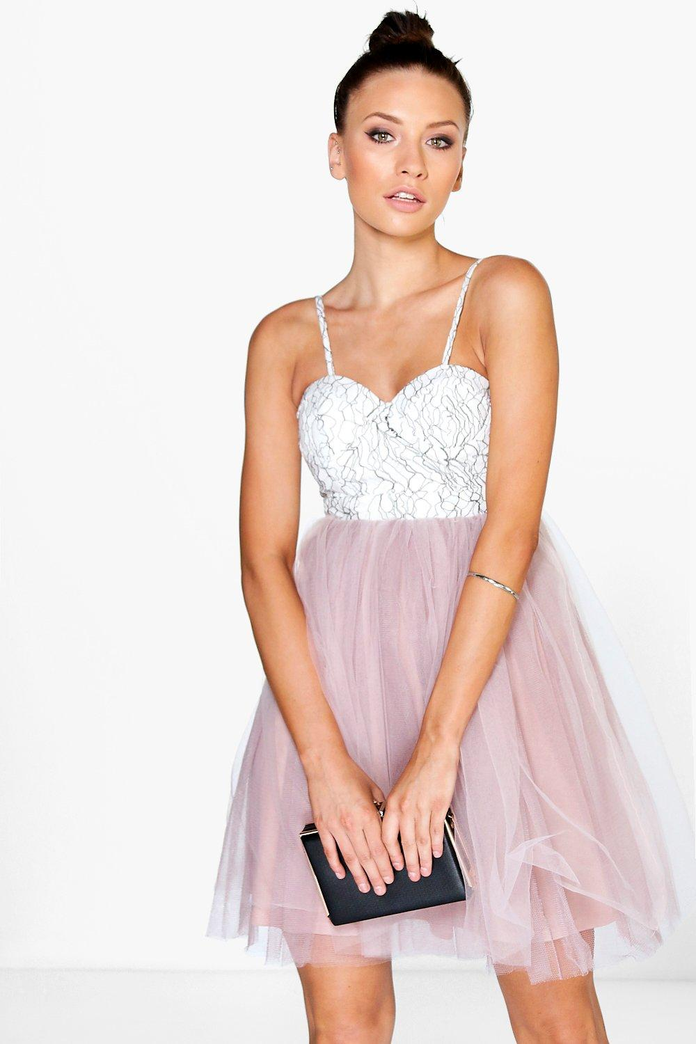Petite Philippa Corded Lace Buster Prom Dress