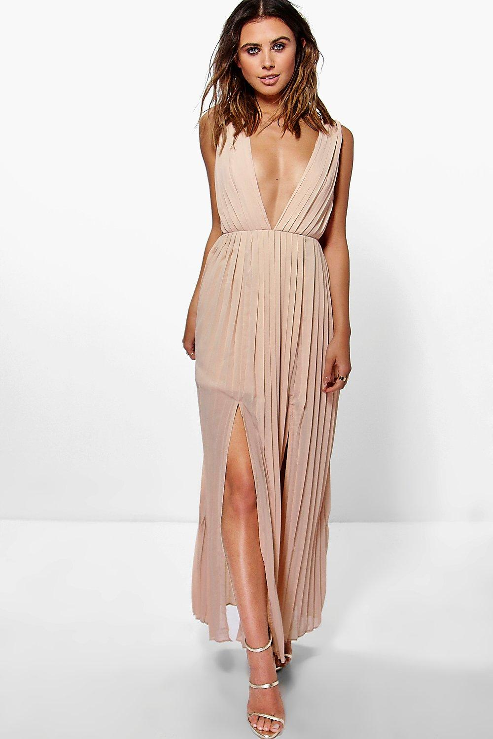 Petite Mel All Over Pleated Strappy Side Maxi Dress