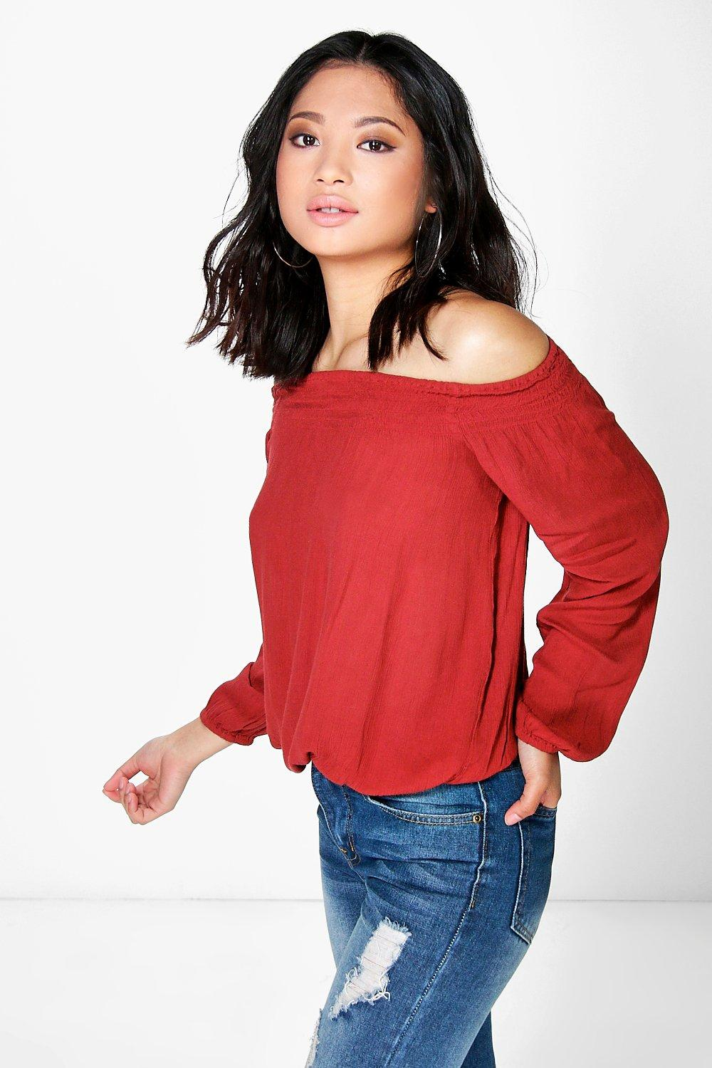Petite Rosanna Woven Off The Shoulder Top