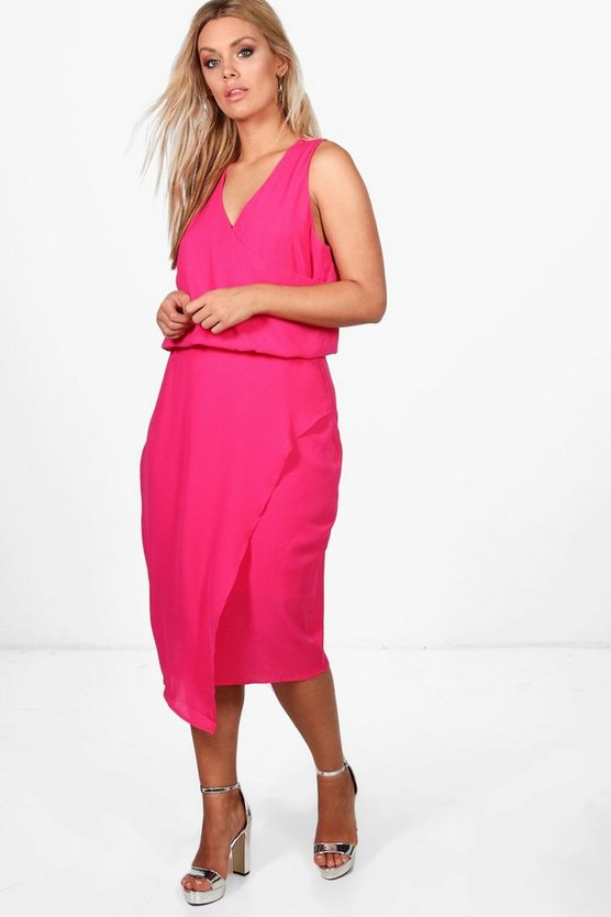 Plus Wrap Front Occasion Dress