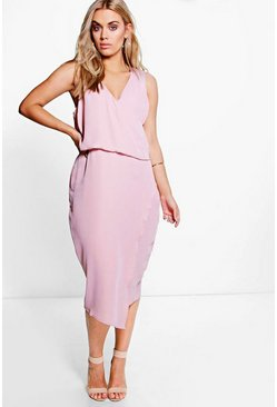 Plus Anna Wrap Front Occasion Dress