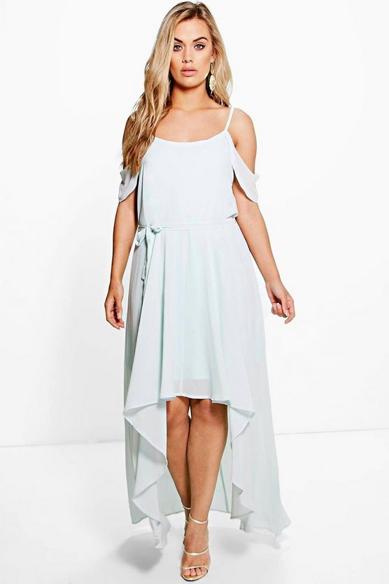 Plus Chiffon Frill Open Shoulder Dress
