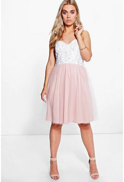 Plus Sarah Corded Lace Prom Dress