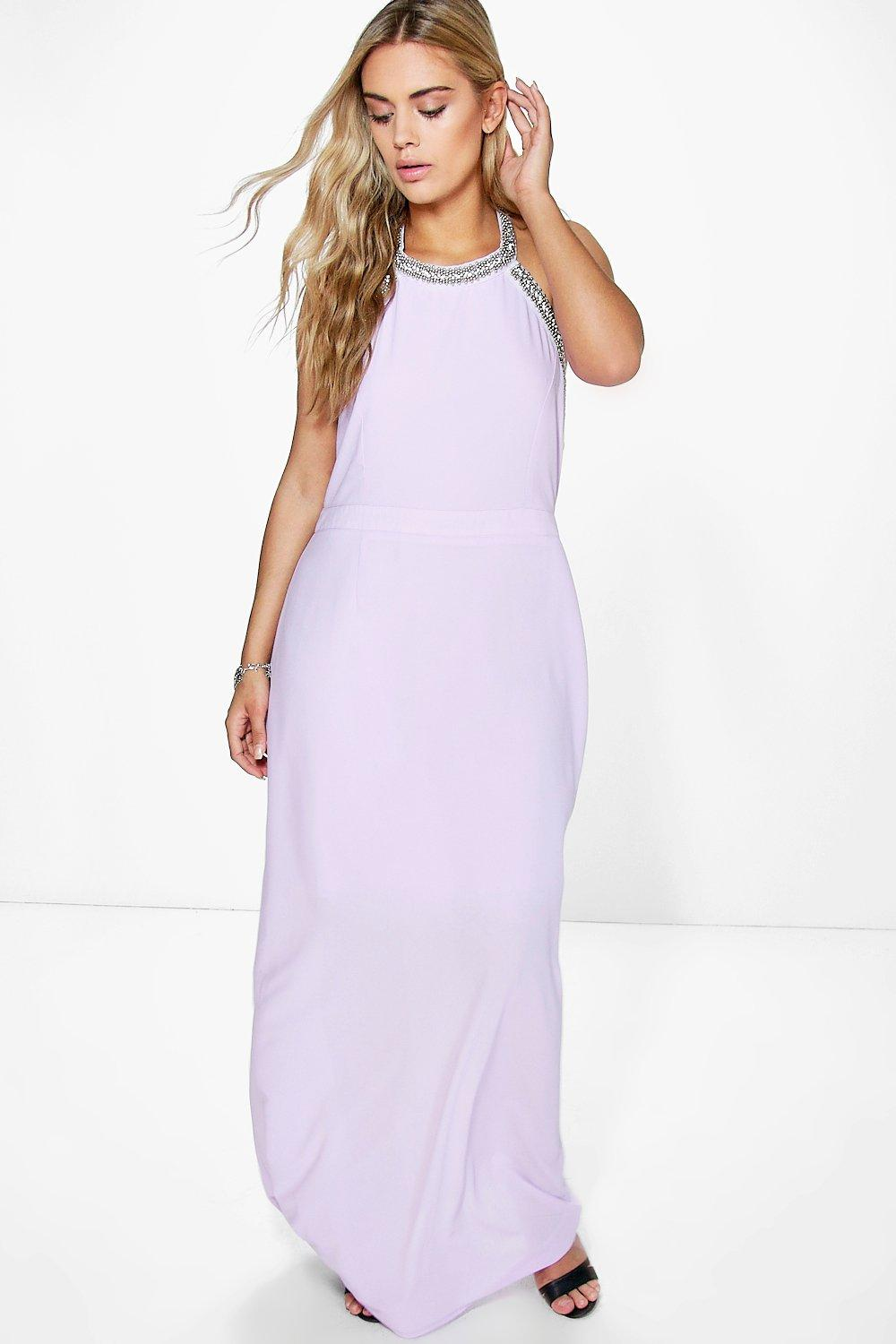 Plus Olivia Embellished Halter Neck Maxi Dress