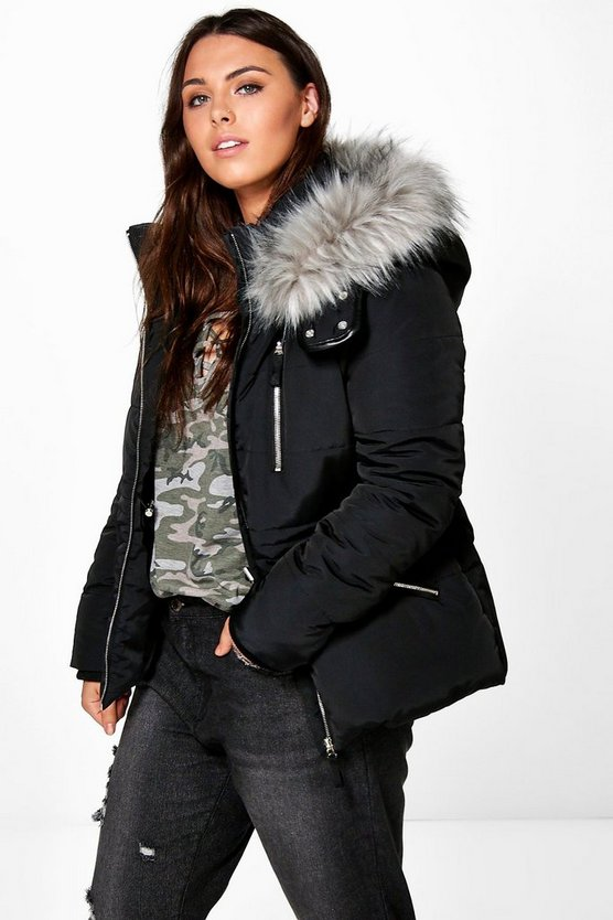 Plus Jo Sporty Quilted Jacket With Faux Fur Hood
