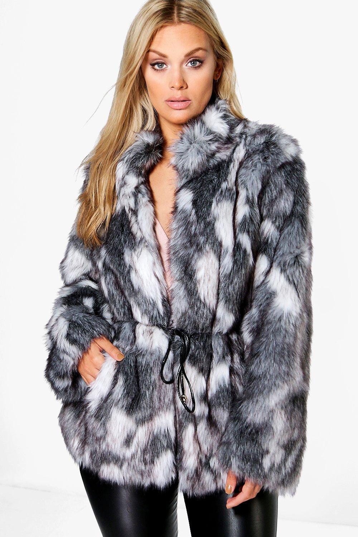 Plus Liv Patchwork Faux Fur Coat With PU Belt | Boohoo