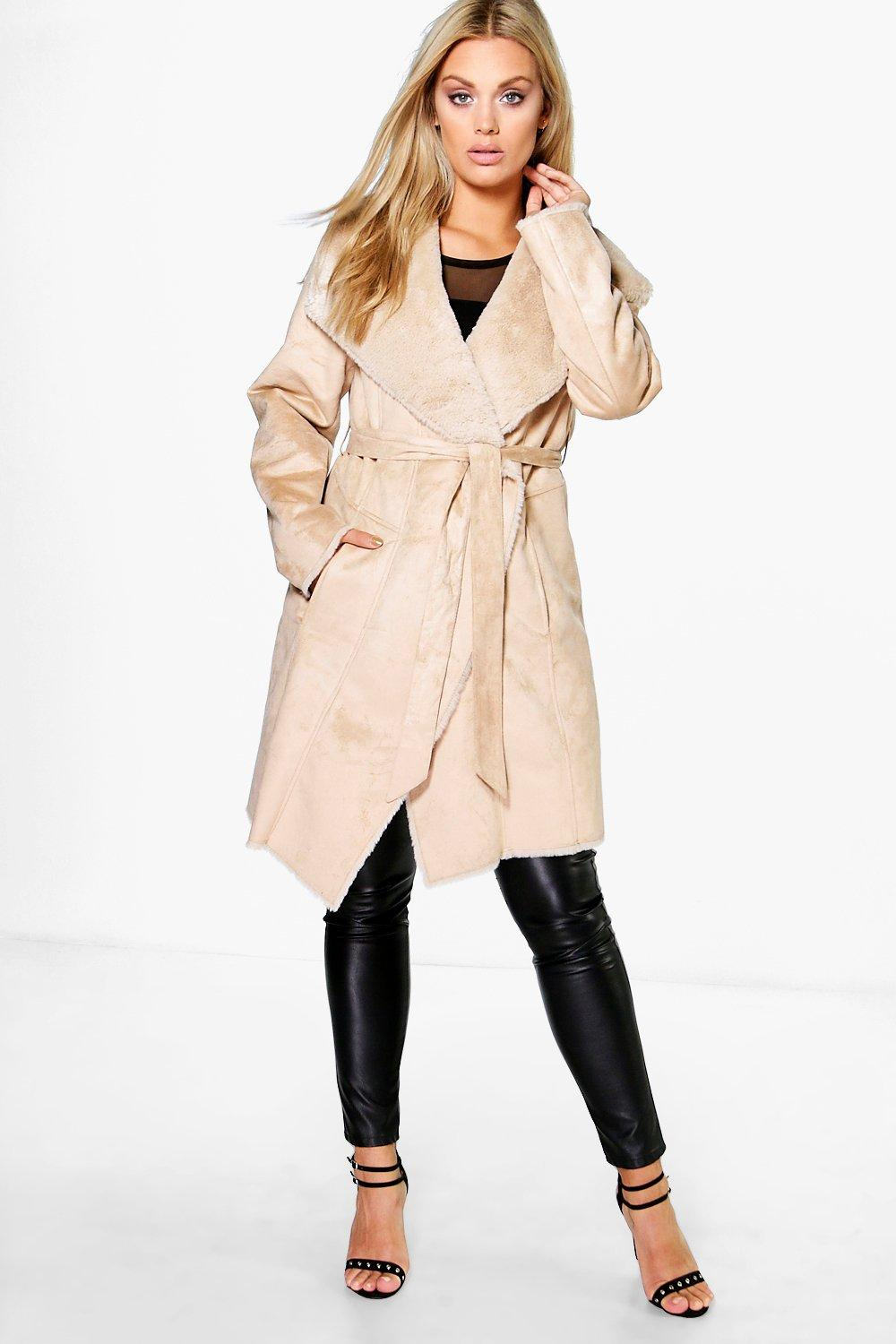 Plus Ria Boutique Faux Fur Suedette Belted Coat