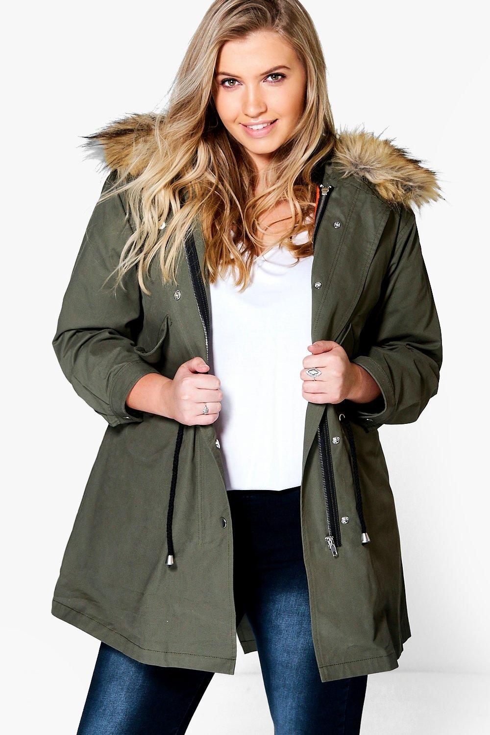 Liz 2 In 1 Zip MA1 Parka With Faux Fur Hood  khaki