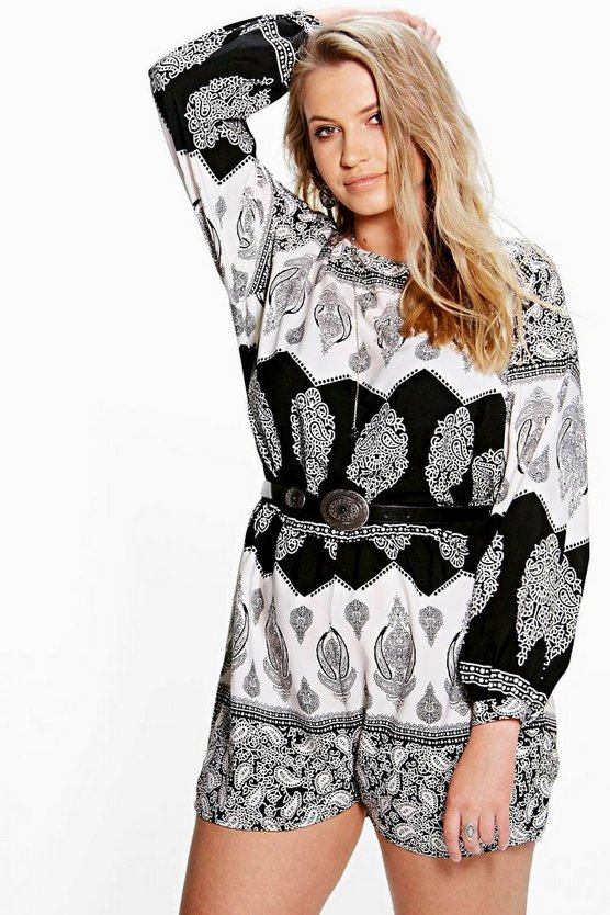 Plus Paige Mono Print Wide Sleeve Playsuit
