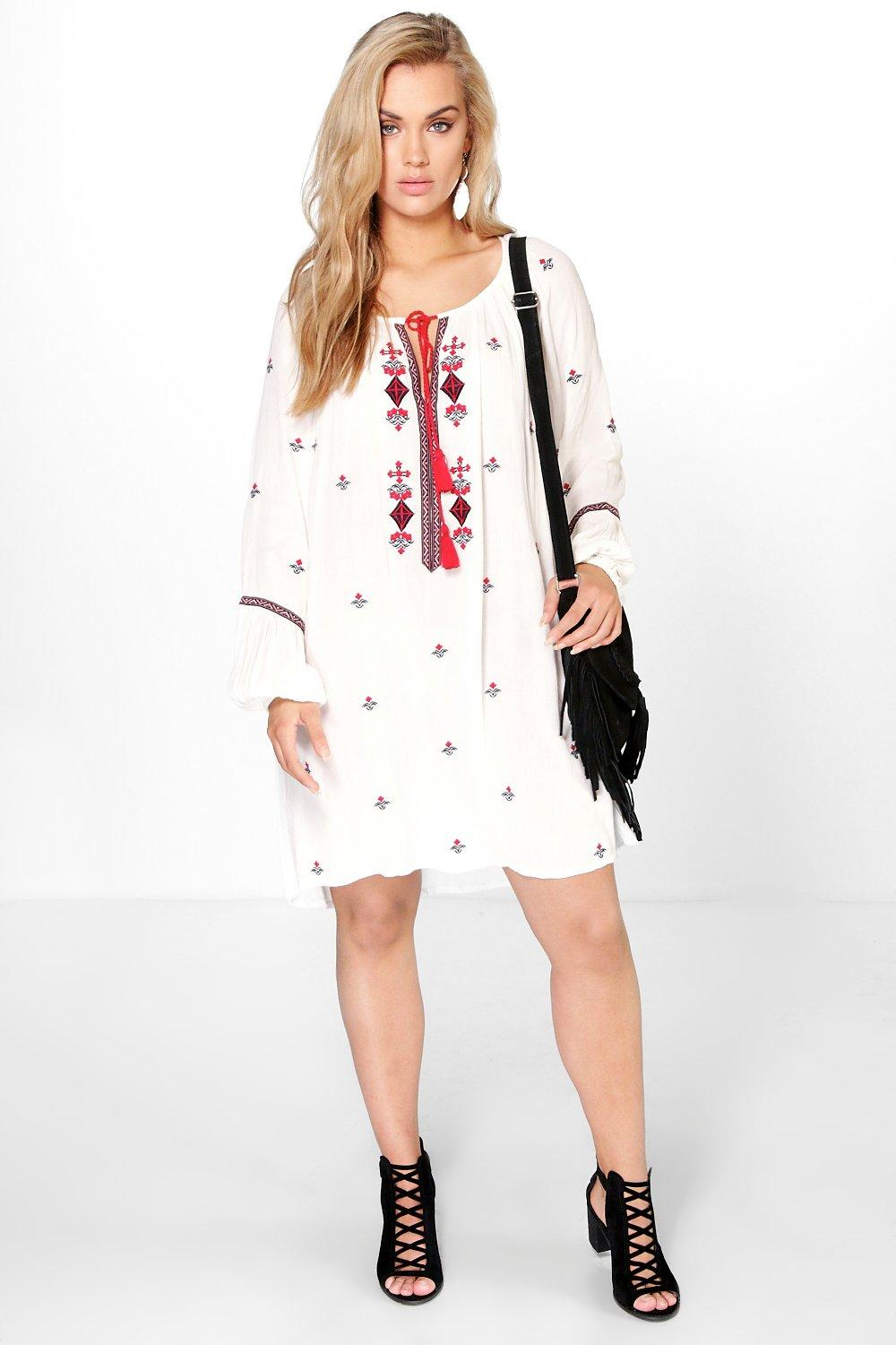 Plus Jenny Embroidered & Tassle Woven Dress