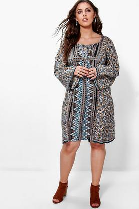 Plus Kate Elephant Print Tassel Shift Dress